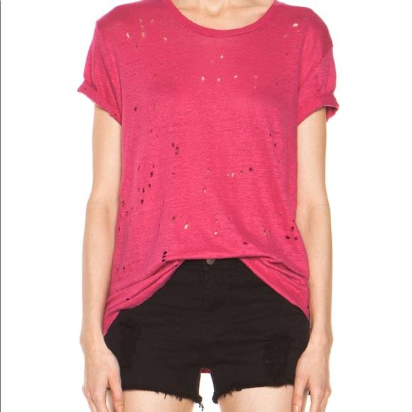 X Camiseta sobredimensionada rosa angustiada Iro xYawtfw6q